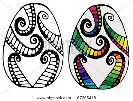 Hand drawn colorful abstract Easter egg for coloring book for adult and design elements. Can be used for card invitation posters texture backgrounds placards banners.
