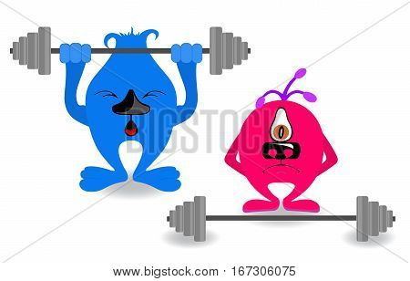 Funny cute cartoon monsters involved in sports. weightlifter monster on a white background