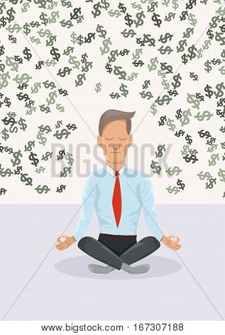 Businessman meditating about money.The concept of financial.