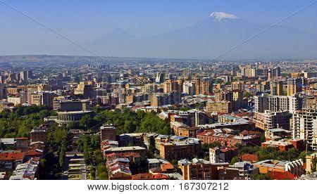 View on Mt. Ararat at Yerevan city Armenia.