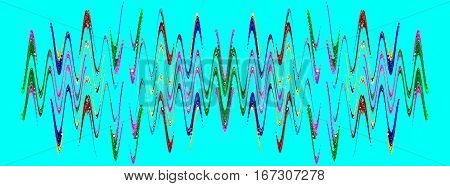 Multicolored abstract waveform pattern on azure background.Digitally generated image.