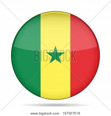 National flag of Senegal. Shiny round button with shadow.