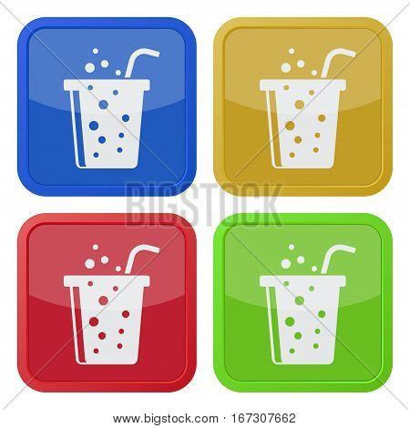 Set of four square colored buttons and icons. Fast food carbonated drink with straw.