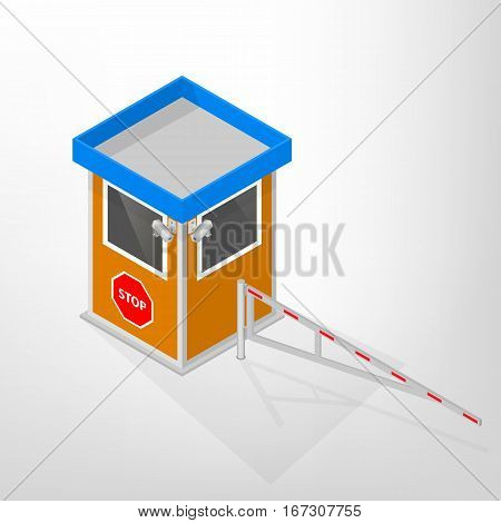 Security lodges with mechanical barriers and video surveillance camera isolated on white background. Flat 3D isometric style vector illustration.