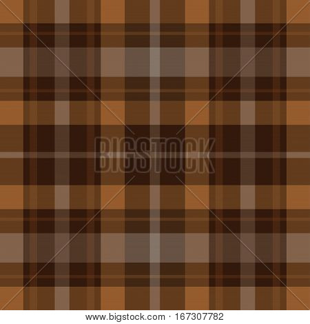 seamless illustration - brown black tartan with squares and white stripes