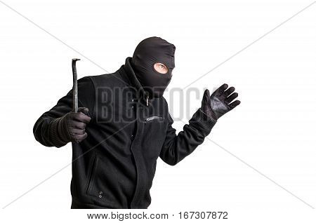 Masked Thief In Balaclava With Crowbar Isolated On White