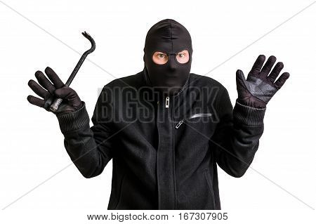 Arrested Thief In Balaclava With Crowbar And Raised Arms