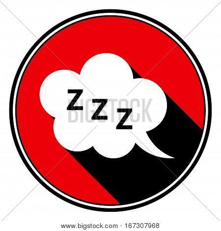 red round with border and black shadow - white ZZZ speech bubble icon