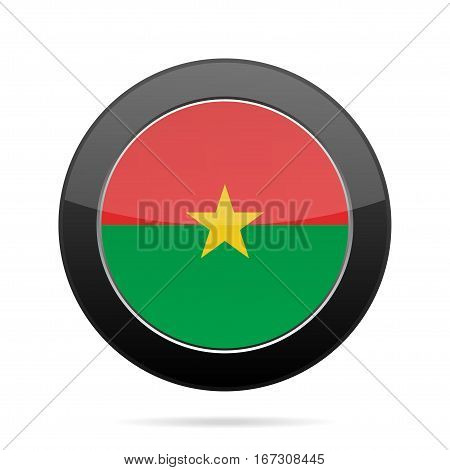 National flag of Burkina Faso. Shiny black round button with shadow.