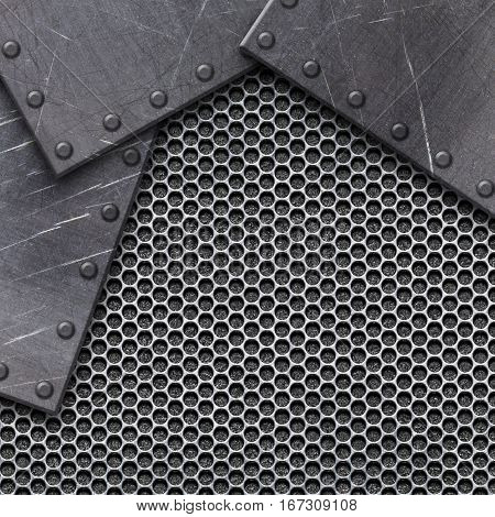 Steel Mesh Pattern With Metal Plates And Rivets