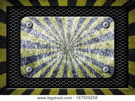 Metal Frame With Warning Stripe, Danger Zone Iron Background