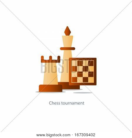 Chess board game, competition concept, rook icon, chess club vector illustration