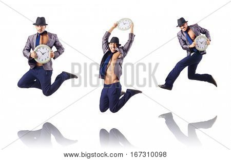 Muscular half naked businessman jumping on white