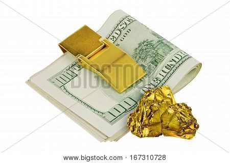 Golden nuggets isolated on white background wit one hundred dollars banknotes in golden money clip