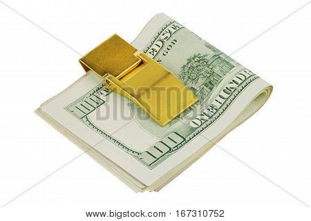 One hundred dollars banknotes in golden money clip isolated