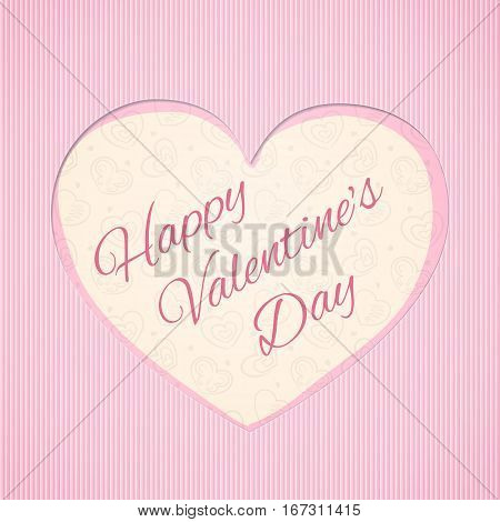 Greeting card with cutout heart shape and inscription Happy Valentine's Day inside, eps10 vector illustration