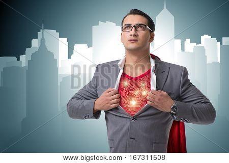Superhero preparing to save the city
