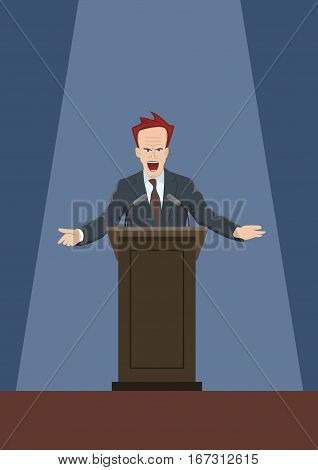 The man speaking from the rostrum.Vector illustration