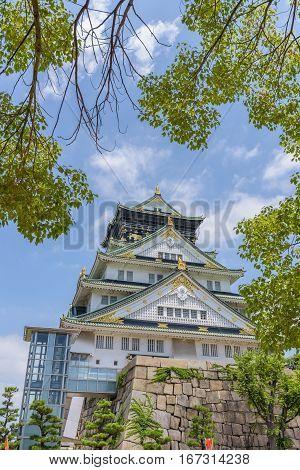 Osaka Castle Or Osaka-jo, The Lanmark Of Osaka In Japan