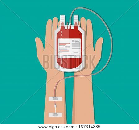 Bag with blood and hand of donor. Blood donation day concept. Human donates blood. Vector illustration in flat style.