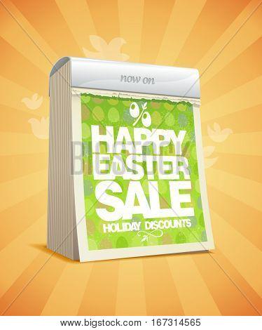 Easter sale design in form of tear-off calendar, rasterized version
