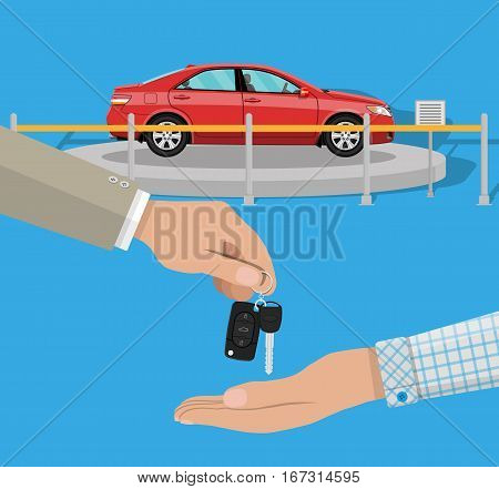 hand gives car keys to another hand. buy, rental or lease a car. Exhibition Pavilion, showroom or dealership with red car, vector illustration in flat style.