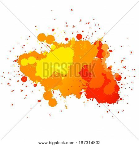 Vector. orange watercolor blots isolated on white background. Watercolor blot for your design, logo, emblem, banner.