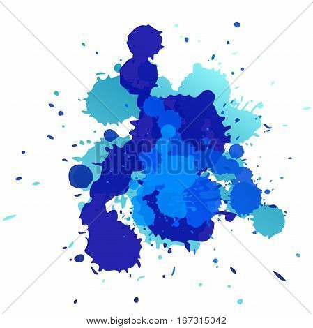 Expressive abstract watercolor stain. splash of dark blue. Abstract isolated colorful vector watercolor stain. Grunge element for paper design