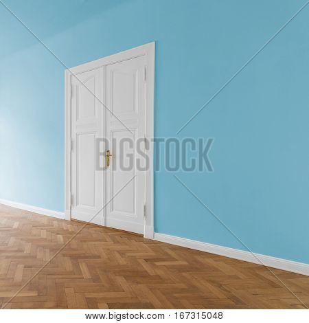 door in empty room with blue painted walls