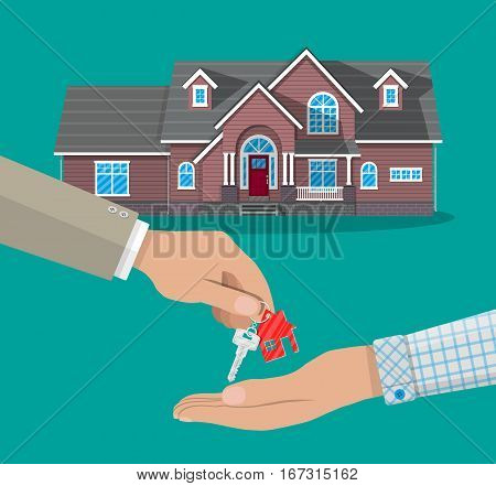hand gives house door keys to another hand. buy, rental or lease a house. real estate, vector illustration in flat style.