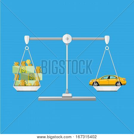 Scales with car and money coins cash, vector illustration in flat style