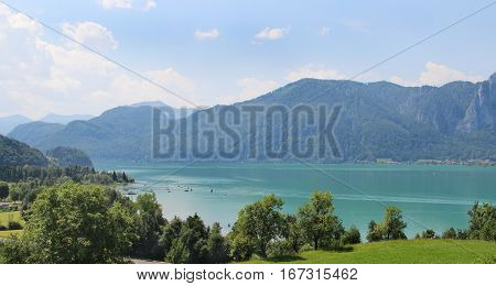 Amazing view of Mondsee in summer Austria