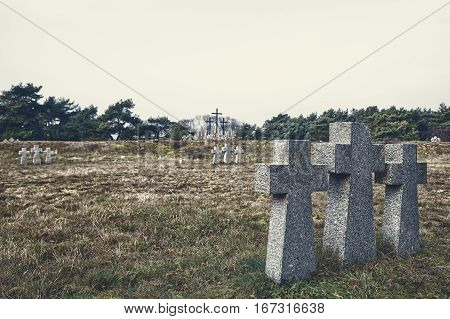 stone crosses in the old cemetery on gloomy cold autumn day