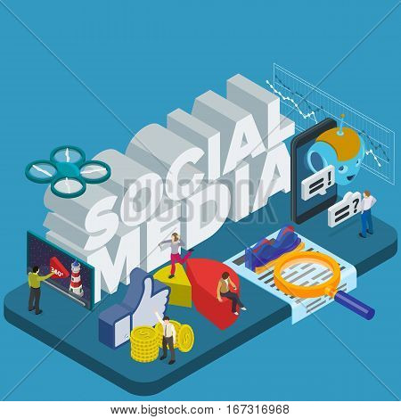 Trends in social networks 2017. Flat 3d isometric banner. Chatbot video 360 degrees SMM promotion and marketing. Inspiration concept template layout diagram step up. People at work