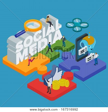 Trends in social media 2017. Flat 3d isometric banner. Chatbot video 360 degrees SMM promotion and marketing. People in different poses at work. 3d puzzle pieces. Vector illustration