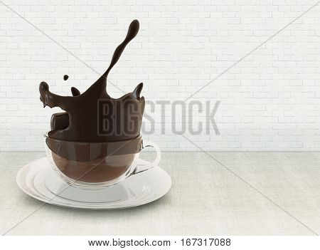 Hot chocolate splash in glass cup, splashing coffee on linen tablecloth against brick wall 3D illustration