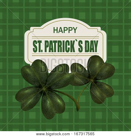 Four and three leaf clover. Greeting inscription St. Patrick Dn. Isolated on the background of green cells. Vector illustration