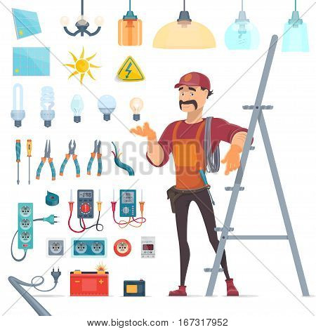 Electricity icons set with whiskered electrician and professional tools and equipment isolated vector illustration
