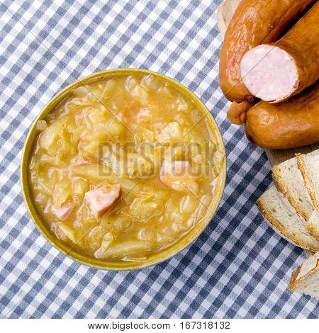 Bigos Polish sauerkraut and sausage stew with ingredients