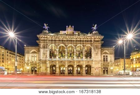Vienna state opera in the evening. Austria. Europe.