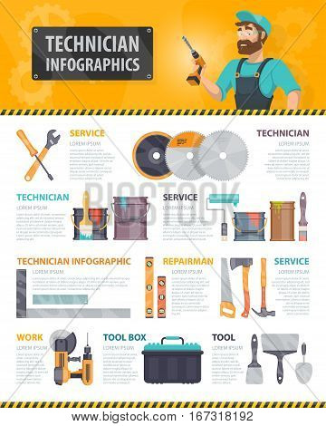 Colorful repair service infographics with repairman building instruments and construction tools vector illustration