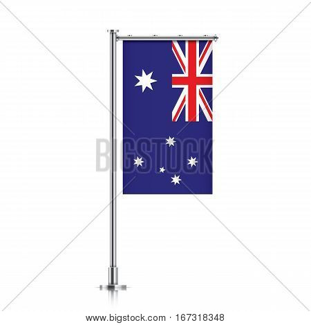 Australia vector banner flag hanging on a silver metallic pole. Vertical Australia flag template isolated on a white background.
