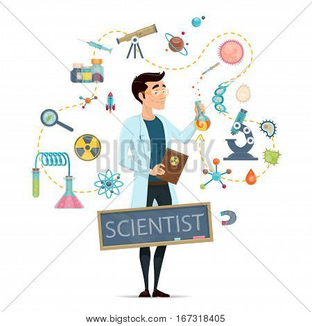 Science round template with scientist different equipment tools and elements of biology chemistry astronomy isolated vector illustration