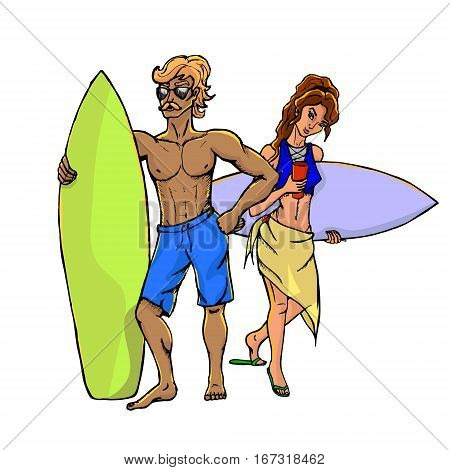 Two isolated from each other concept of surfers - a man and a woman. Color vector illustration isolated on white background.