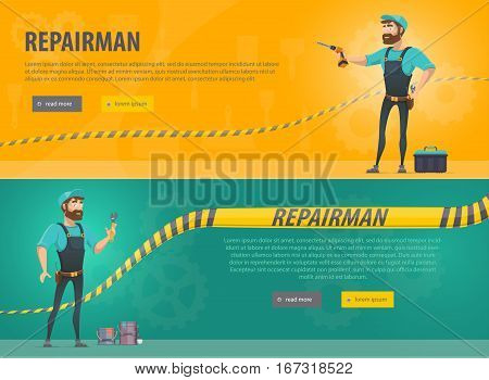 Colorful repair horizontal banners with foreman text tools on orange and dark turquoise background vector illustration