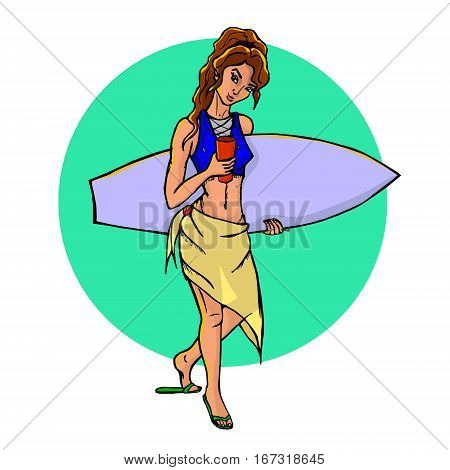 A hand drawn illustration of a beautiful surfer girl with a surfboard. Vector, isolated on white.