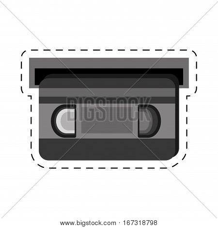 vhs tape movie cut line vector illustration eps 10