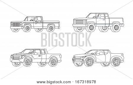 Pickup truck modern design models set in outline style on white background isolated vector illustration