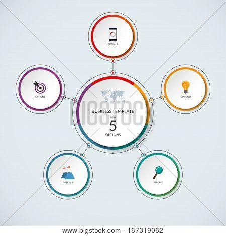 Infographic circle. Modern minimalistic template with 5 options. Vector banner, what can be used as circular chart, cycle diagram, graph, workflow layout for report, business presentation, web design.
