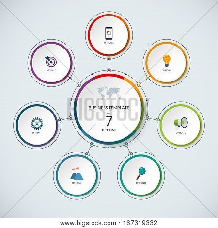 Infographic circle. Modern minimalistic template with 7 options. Vector banner, what can be used as circular chart, cycle diagram, graph, workflow layout for report, business presentation, web design.